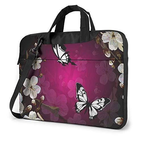 Laptop Shoulder Bag,Black White Butterfly Shockproof Laptop Sleeve Cover Business Messenger Bag Briefcase Handbag Case 15.6 inch