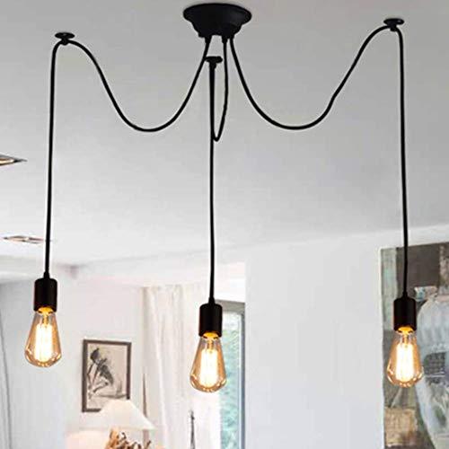 Vintage Pendelleuchte, E27 (3-Flammig,1.2M,Glühbirne nicht inbegriffen) Retro Industrielle Deckenleuchte höhenverstellbar Hängeleuchte mit 3-adrigem Textilkabel DIY Lampe
