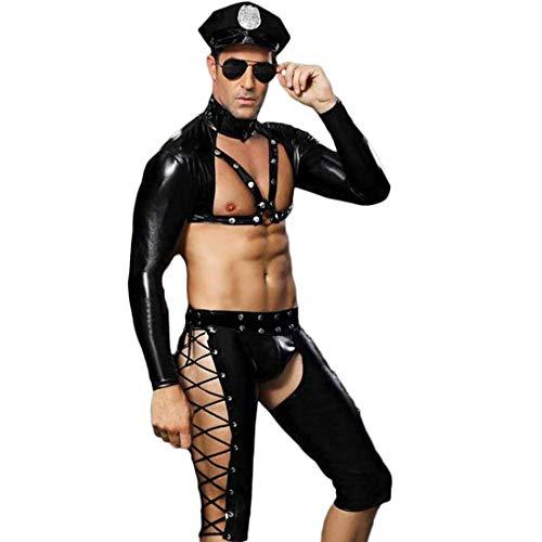 Erotische Kleidung Erotische Dessous Männer Schwarz Sexy Lackleder Polizisten Uniform Auf Party Bühne Bar Nachtclub Anwenden