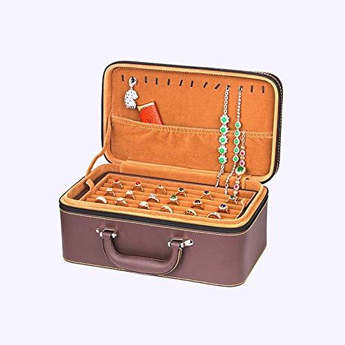 JOMOSIN Snh0216 Artículo de Almacenamiento Brown Multi-Capa PU Joyería Caja Pendientes Anillo Collar Pulsera Relojes Almacenamiento Cosmética Caja Chica Mujer Men Cumpleaños Portátil Regalo p