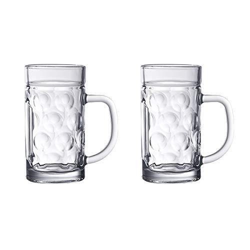 ABCCS 2pcs Jarra de Cerveza de Vidrio de Alta Capacidad,Jarra de Cristal Grande con hoyuelos y asa,Vasos de Cerveza Personalizada para cumpleaños,Cerveza Vidrio clásicas,0,5 l / 1 l