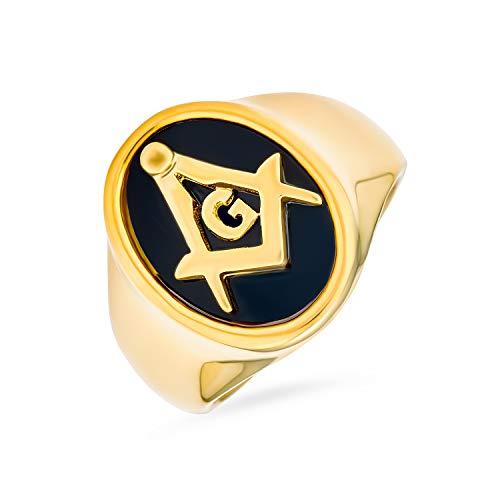 Bling Jewelry Sociedad Secreta Brújula Cuadrada Oval Negro Signet Masónica Francmasón Anillo para Hombre Chapado En Oro De 14K Acero
