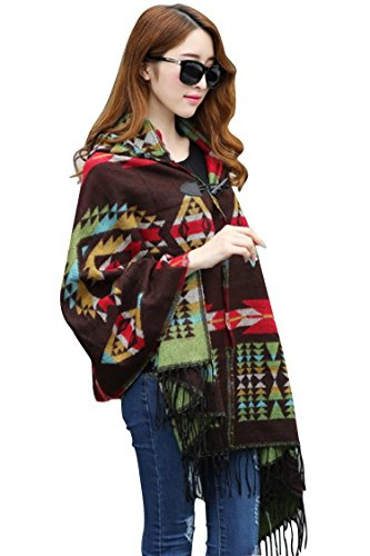 Wigwam New American Indian Navajo design Capuchon sjaal poncho one size DONKERBRUIN