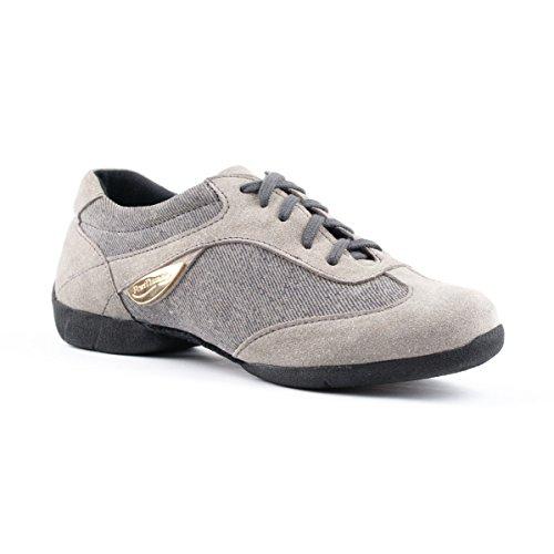PortDance Damen Dance Sneakers PD07 - Denim/Velourleder Grau - Kunststoffsohle [EUR 39]