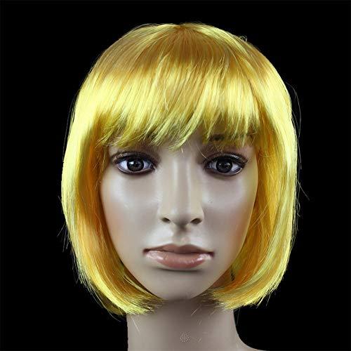 JKL African Female wig Short Hair wig Black Hair wig Small Volume Explosion Headgear European and American Hot wig Set (Color : Le Jaune)
