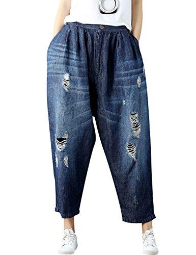 Youlee Frauen Patchwork Haremshose Zerstört Jeans Wide Leg Jeans Style 4 Deep Blue