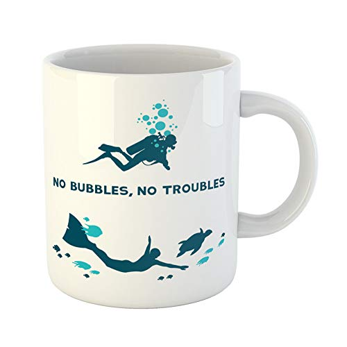 Emvency Coffee Tea Mug Gift 11 Ounces Funny Ceramic Underwater Difference Between Scuba and Free Diver No Bubbles Troubles Gifts For Family Friends Coworkers Boss Mug