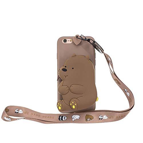 Miagon Silikon Hülle für iPhone 6 Plus / 6S Plus,3D Süß Brieftasche Lager Tasche Design mit Halskette Kordel Schnur Handykette Necklace Band,Braun Bär