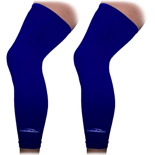 COOLOMG 2 Packs (1 Pair) Leg Knee Long Sleeves for Sport Football Basketball Cycling Strech Adult Child Size Navy M