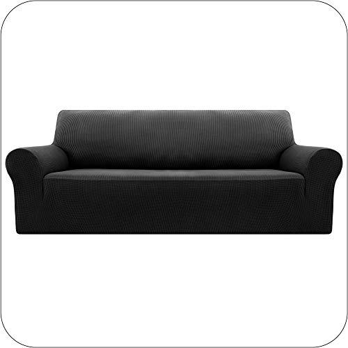 UMI by Amazon Funda Sofa Suave Elastica de Color Liso 3 Plazas Negro