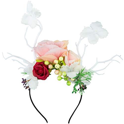 dressforfun 302794 Blumen Haarreif Blumenkranz, REH Geweih, für Dirndl und Trachten Party, weiß bunt