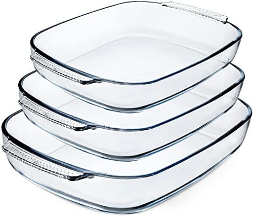 3-Piece Deep Glass Baking Dish Set,