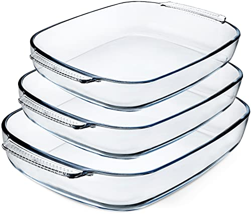 3-Piece Deep Glass Baking Dish Set, Clear Glass Casserole Bakeware Set, Baking Pans for Lasagna, Leftovers, Cooking, Kitchen, Freezer-to-Oven and Dishwasher