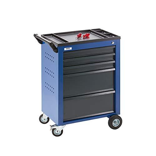 QUIPO Werkzeugwagen - 5 Schubladen mit Einzelarretierung - HxBxT 930 x 630 x 410 mm, blau -