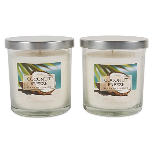 Home Traditions Single Wick Evenly Burning Highly Scented Jar Candle, Set of 2 (8 Oz Each) - Coconut Breeze