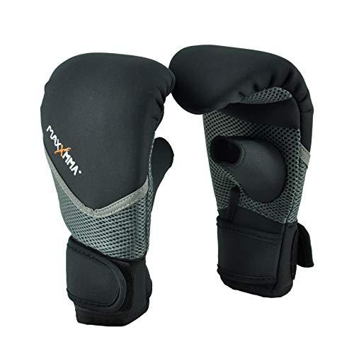 MaxxMMA Neoprene Washable Heavy Bag Gloves - Boxing Punching Training (Black, L/XL)