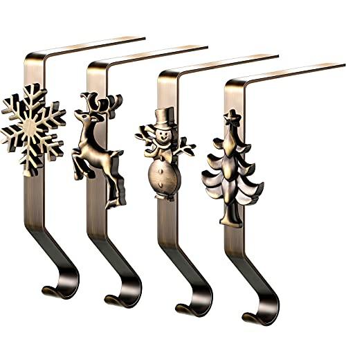4 Supporti Calze di Natale Ganci per Mensola del Camino Clip di Calze di Natale 4 Stili Impugnature per Calze da Camino Supporti per Calze di Natale da Appendere per Casa (Bronzo)