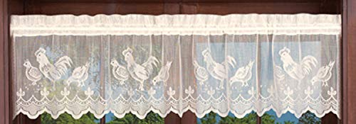 """Meaning4 Valance Curtain with Rooster Cock White Country Semi Sheer Knit Lace 1 pc 60""""X14""""(152x36CM) Rod Pocket"""