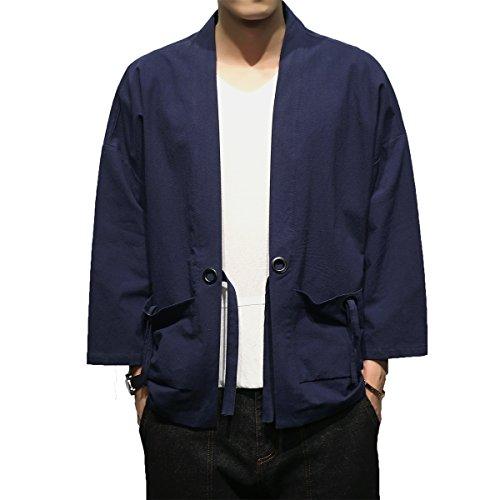 Mirecoo - Giacca da uomo in cotone giapponese Happi Kimono Haori. Nero XXL