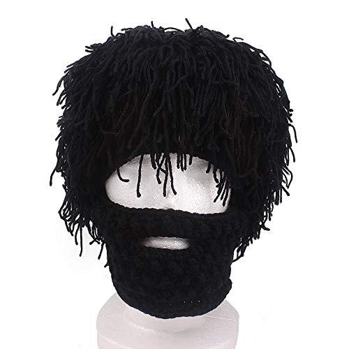 JUFENG Knight Beard Beanie - Lustiger Strickhelm Mit Kunstbart Und Visier - Handgefertigte Winddichte Skimaske,Black