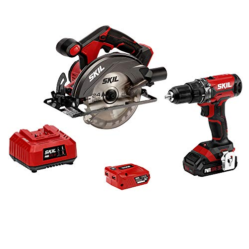 SKIL 20V 2-Tool Combo Kit: 20V Cordless Drill Driver and Circular Saw, Includes 2.0Ah PWR CORE 20 Lithium Battery, PWRAssist 20 USB Charging Adapter and Charger - CB739301