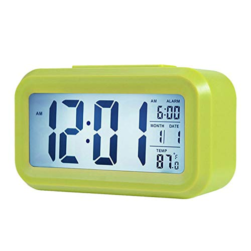 Reloj Despertador Digital Inteligente con BotóN De Recordatorio De Fecha Y Temperatura con Escritorio Rectangular con Pilas Y Luz Nocturna