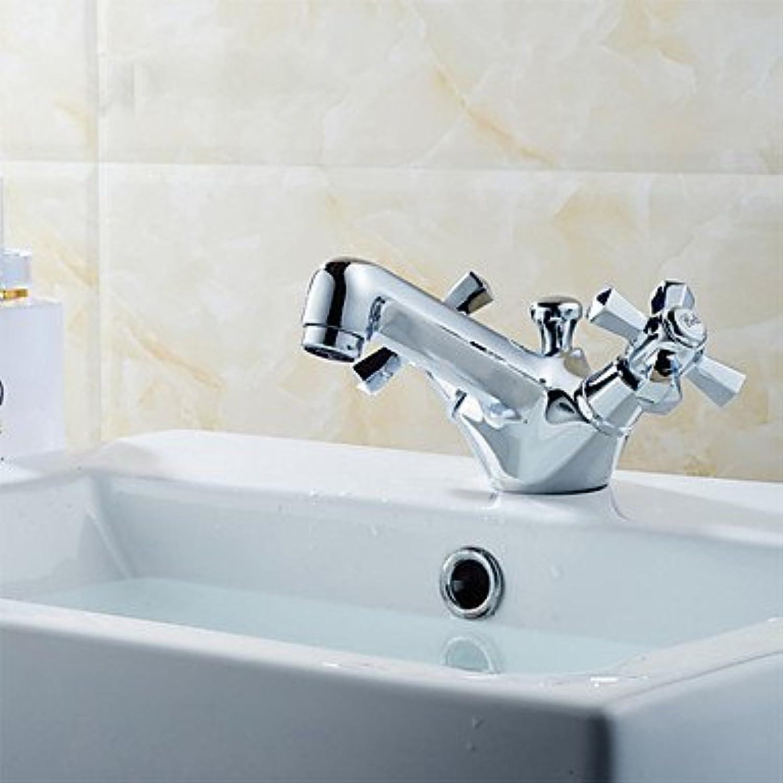 Brücke installieren soliden Kupfer Griff zwei Einloch-Waschtischmischer Chrom Waschbecken Waschbecken Wasserhahn