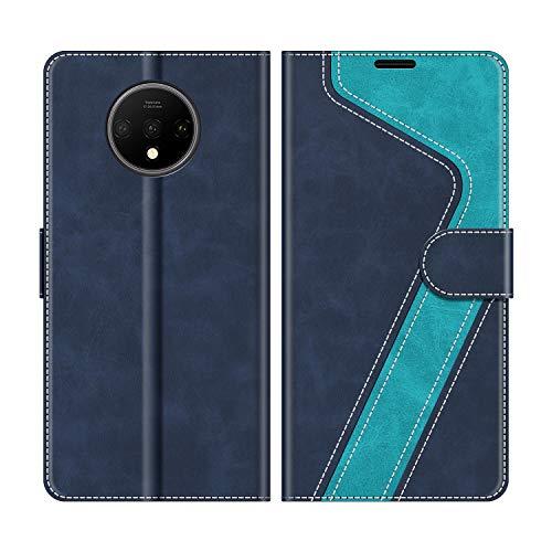MOBESV Handyhülle für OnePlus 7T Hülle Leder, OnePlus 7T Klapphülle Handytasche Hülle für OnePlus 7T Handy Hüllen, Modisch Blau