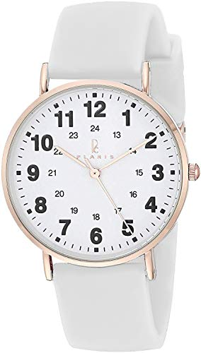 Plaris Nurse Watch for Medical Professionals,Nurses,Doctors,Students with Easy to Read Dial, Military Time, Second Hand and More Colors to Match Your Scrubs (Rosegold White Silicone)