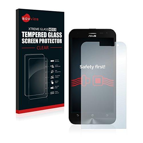 savvies Cristal Templado Compatible con ASUS ZenFone 2 Laser ZE500KL Protector Pantalla Vidrio Proteccion 9H Pelicula Anti-Huellas