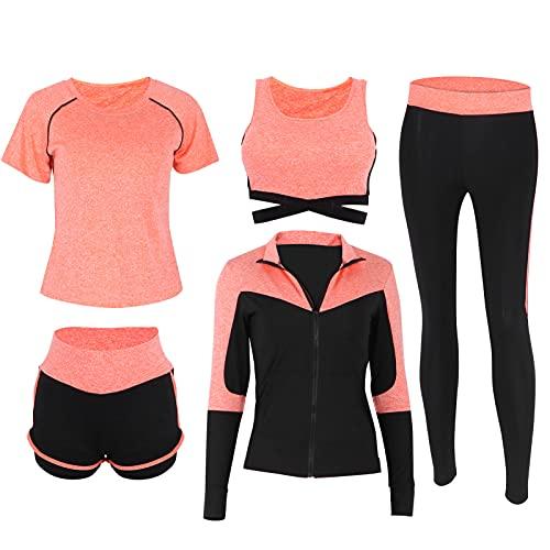 VGEBY Conjunto de Trajes de Yoga, Trajes de Entrenamiento, chándales para Correr para Mujeres, Trajes Deportivos Deportivos, Yoga, Ejercicio físico(Naranja)