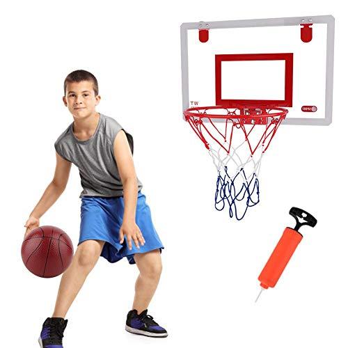 Runningfish Kinder-Basketballkorb- und Netzset, Mini-Basketballkorbset mit Rückenbrett-Inflator, tragbares Schlafzimmer-Indoor-Outdoor-Sportspielzeug für Kinder Indoor-Sport