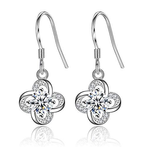 Earrings Women Studs 925 Sterling Silver Elegant Simple Dangling Earrings Ladies Gifts-White