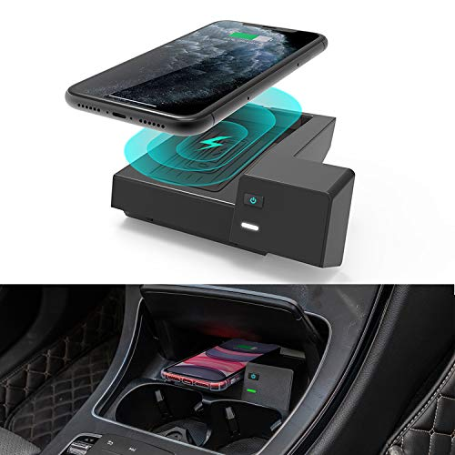 CarQiWireless Wireless Phone Charger for Mercedes-Benz C-Class GLC 2016-2020, Center Console Charging Pad Mat for All C GLC Models C300, W205 Accessory for All Wireless Enabled Phone + Fast Charge