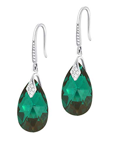 Crystals & Stones – Pendientes de plata de ley 925 – Emerald – Pendientes con cristales de Swarovski – Bonitos pendientes para mujer – Fantásticos pendientes con caja de regalo gratis