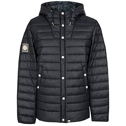 Pretty Green Puffer Jacket Mens Designer Cappuccio trapuntato Slim Fit imbottito Full Zip Nero