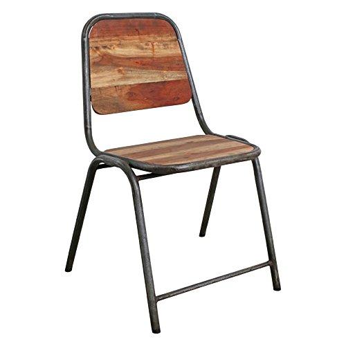 STUFF Loft Stuhl Acaciawood Iron Dining Slim - Handmade Stuhl aus Altholz und Altmetall im Industrial Vintage Style