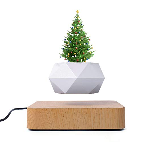 Meiyum – Maceta levitante de escritorio para flores o bonsai. Maceta magnética con suspensión magnética, levitación magnética crea una hermosa pantalla flotante (sin planta) – enchufe de la UE café