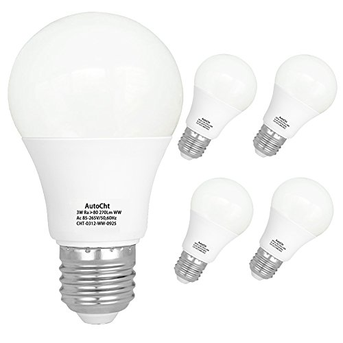 LED Light Bulbs 25 Watt Incandescent Equivalent High Bright E26 Base 3 Watt Soft White Energy Saving Bulbs Home Lighting 270 Lumens, Pack of 5