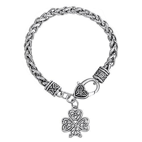 Irischer Knoten Liebe Herz mit viel Glück Metall Anhänger Gliederkette Armbänder für Damen und Herren