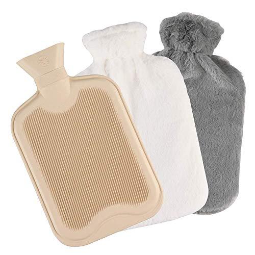 Wärmflasche Nabance Wärmflasche 2L mit 2 Pack Super Weichem Plüsch-bezug, Sicher und Warm Hot Water Bottle Bettflasche Länger für Abende Bauch Rücken Nacken, Waschbare Bezug Weiß + Grau