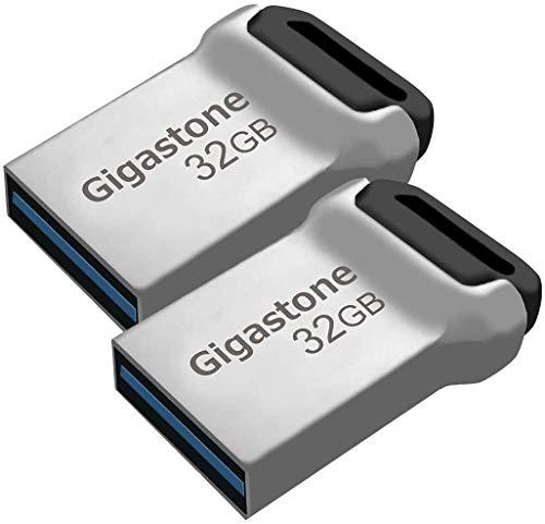 Gigastone Z90 [2-Pack] 32GB USB 3.1 Flash Drive, Mini Fit Metal Waterproof Compact Pen Drive, Reliable Performance Thumb Drive, USB 2.0 / USB 3.0 Interface Compatible
