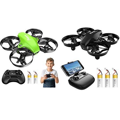 Potensic Mini Drone Set - A20 Green with 2 Batteries and A20W Camera Drone with 3 Batteries