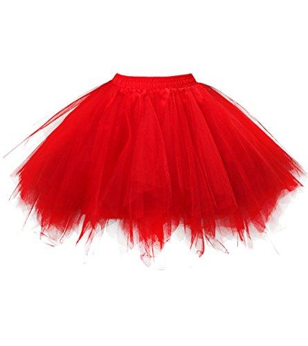 OBBUE Damen 1950er Vintage Ballett Blase Tutu Unregelmäßig Tüll Retro Petticoat Rot-M