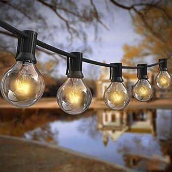 AVANLO 25 Pies G40 Guirnalda de Luces Impermeable IP44 Luces de Cuerda para Decoración Patio Luces Colgantes con 25 Bombillas Transparentes & 2 Bombillas de Repuesto Certificación UL