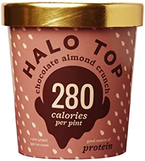 Halo Top Chocolate Almond Crunch Ice Cream,, 16 Ounce (Pack of 8)