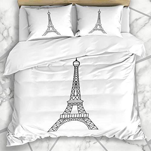 HARXISE Ropa de Cama - Funda nórdica High Eifel Torre Eiffel París Francia Resumen Vacaciones Diseño Gráfico Capital Microfibra Nuevo Set de Tres Piezas Funda de edredón 140 * 200