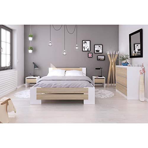 Générique Mao Chambre Adulte Complete - Contemporain - Blanc Mat et décor Chene Sonoma - l 140 x L 190 cm