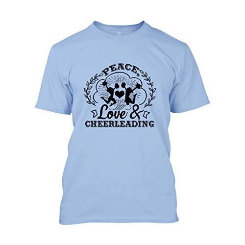 Peace Love and Cheerleading - Camiseta para hombre, playera de algodón ultra - azul claro, X-Large