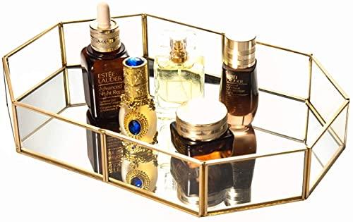 JSY Caja Joyero Bandeja de almacenamiento de vidrio Almacenamiento de joyería cosmética Sin fisuras Bandeja de organizador de vidrio chapado en oro para la cómoda, cuarto de baño 12 x 8 pulgadas Jewel